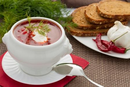 Ukrainian national red borsch with herbs   spice Stock Photo