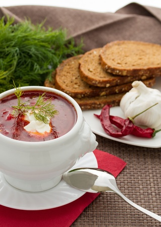 Ukrainian national red borsch with herbs   spice Stock Photo