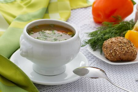 polish chicken: Bowl of Chicken vegetable Soup  Stock Photo