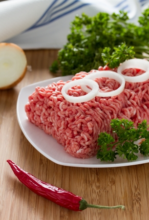 minced meat on the wooden cutting board Stock Photo - 18060164