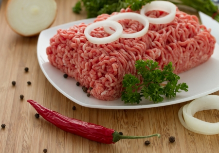 minced meat on the wooden cutting board Stock Photo - 18060167