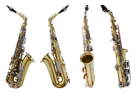 Vintage saxophone isolated with clipping path on white background Stock Photo