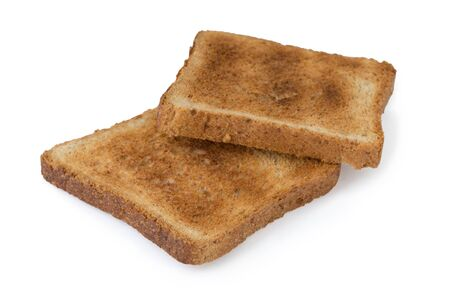 Two pieces of toast isolated on white background clipping path