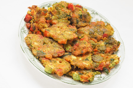veda: Healthy baked vegan vegetable pakoras Stock Photo