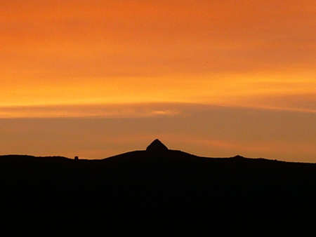 sunset at Dunkery Beacon, the highest point on Exmoor, South West England Stock Photo