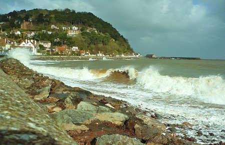 Coast - Minehead looking towards North Hill, Somerset, South West England Stock Photo