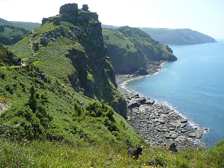 Valley of Rocks, with a baby feral goat, just a fewdays old, in the foreground, Exmoor, South West England Stock Photo