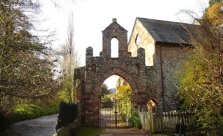Old gateway by the River Avill, Dunster, Exmoor, South West England photo