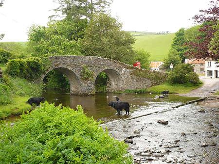 Packhorse bridge over Badgworthy Water, Exmoor, South West England