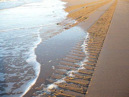 Sand tracks, Minehead, South West England