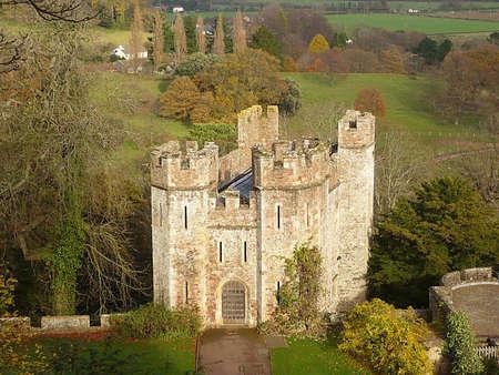 southwest: Uitzicht vanaf de donjon op Dunster Castle, Exmoor, Zuid-West-Engeland Stockfoto