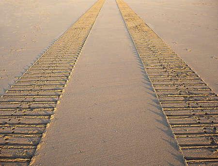 Sand tracks, Minehead beach, South West England Stock Photo