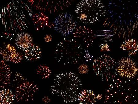 Fireworks spectacular, Minehead beach, South West England photo