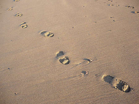 Footprints on a journey through the sand, South West England