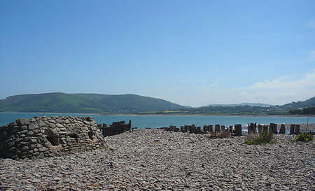 calming: Wartime bunker and remains of sea defences, South West England