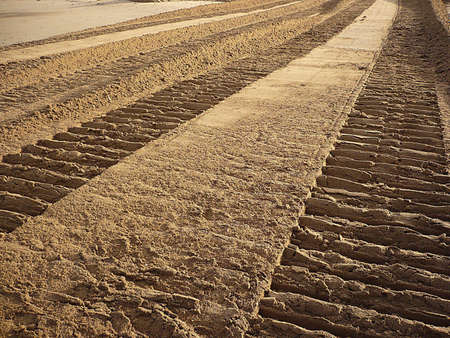 going nowhere: Machinery tracks in the sand, South West England