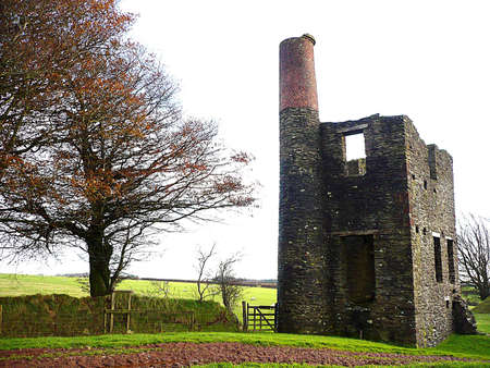 disuse: Engine House ruins from the dismantled West Somerset Mineral Line Railway, Exmoor, South West England