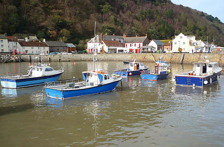 restful: Boats in Minehead harbour, South West England Stock Photo