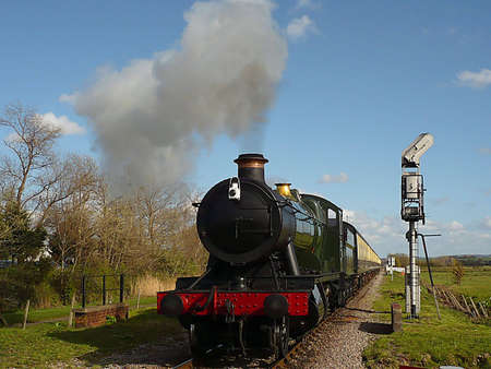 south west england: Restored steam train, West Somerset Railway, South West England Stock Photo