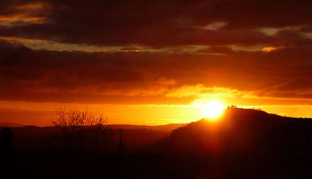 Sunrise over Conygar Tower, South West England Stock Photo