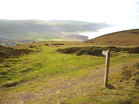 Fingerpost on coastal path, South West England
