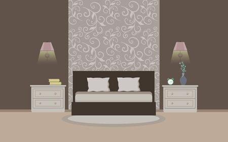 bedroom furniture: Modern bedroom interior with furniture. Flat style. Vector illustration