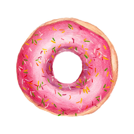Watercolor pink donut. Sweet dessert with strawberry filling. Isolated on white background