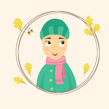 Portrait of a cute girl in a wreath of yellow oak leaves. Autumn vector illustration in flat style Ilustração