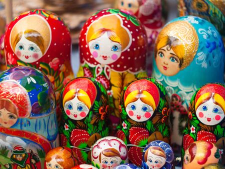 Matryoshka. Russian nesting doll. Wooden toys from Russia, colorful wooden dolls. Traditional russian souvenir Stock Photo