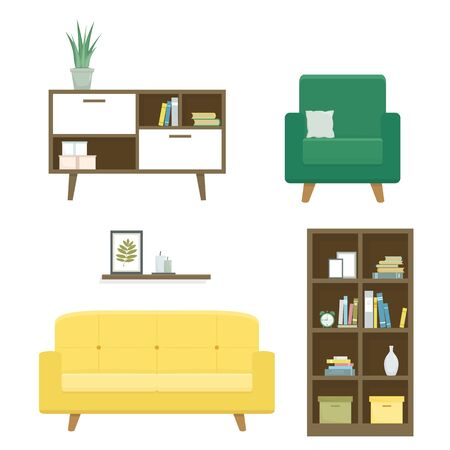 Set of furniture and home decor for living room including sofa, armchair with pillow, and bookcase. Vector illustration, flat design, isolated on white background
