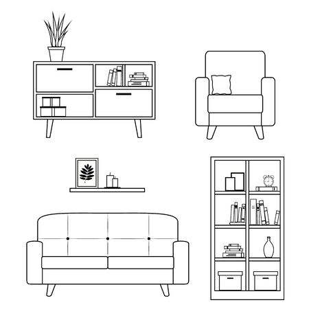 Set of furniture and home decor for living room including sofa, armchair, and bookcase. Lineart design. Vector illustration isolated on white background