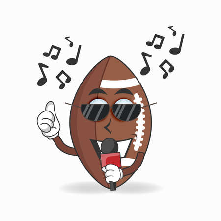 The American Football mascot character is singing. vector illustration