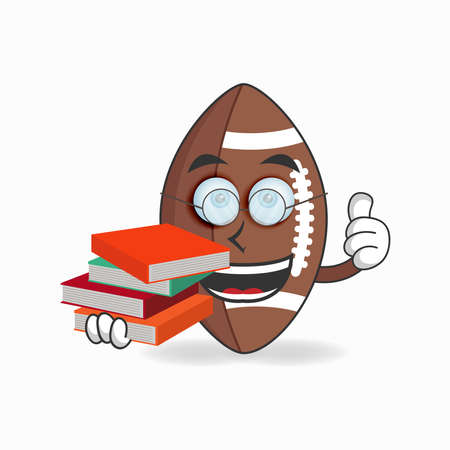 The American Football mascot character becomes a librarian. vector illustration