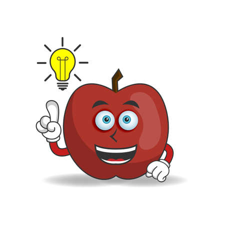 The Apple mascot character with an expression gets an idea. vector illustration