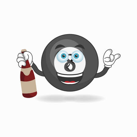 Billiard ball mascot character holding a bottle. vector illustration