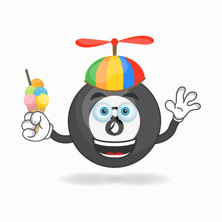 Billiard ball mascot character with Billiard ball and colorful hat. vector illustration