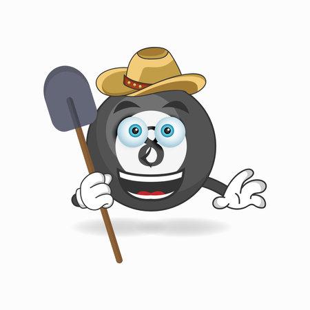 The Billiard ball mascot character becomes a farmer. vector illustration