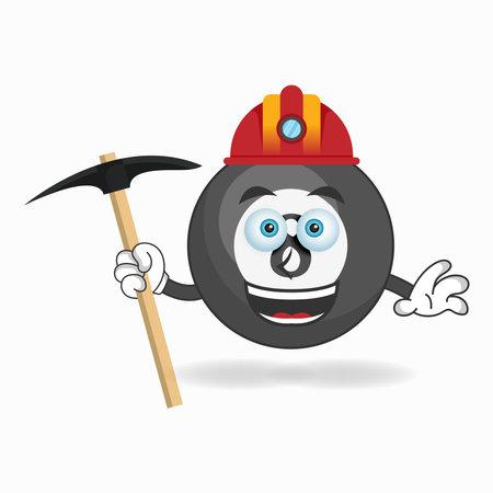 The Billiard ball mascot character becomes a miner. vector illustration