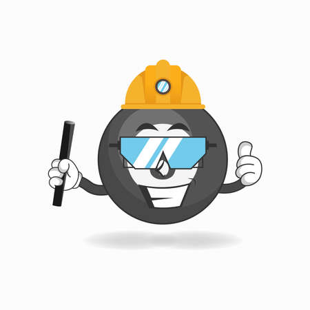 The Billiard ball mascot character becomes a mining officer. vector illustration