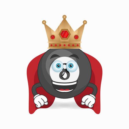 The Billiard ball mascot character becomes a king. vector illustration