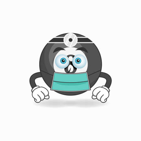 The Billiard ball mascot character becomes a doctor. vector illustration