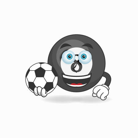 The Billiard ball mascot character becomes a soccer player. vector illustration