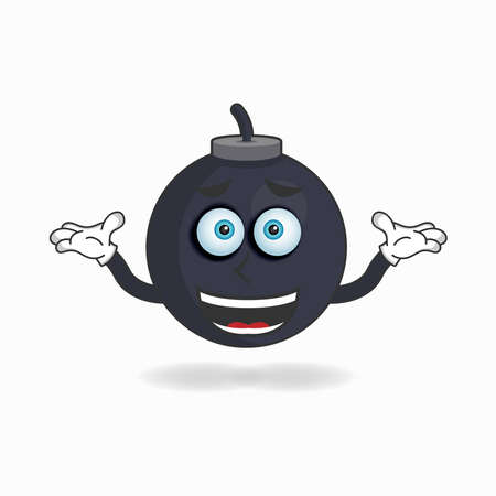 Boom mascot character with a confused expression. vector illustration  イラスト・ベクター素材