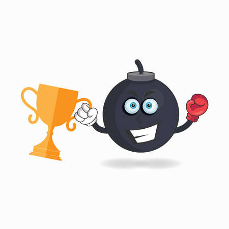 The Boom mascot character wins a boxing trophy. vector illustration