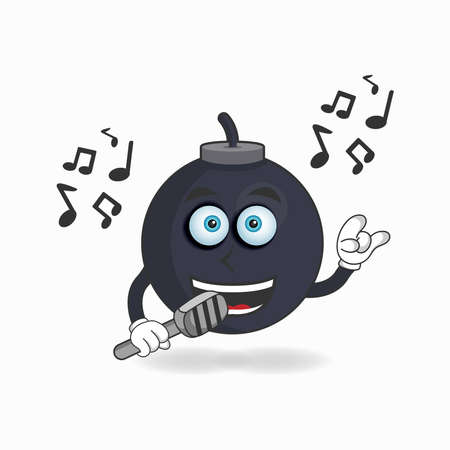 The Boom mascot character is singing. vector illustration  イラスト・ベクター素材