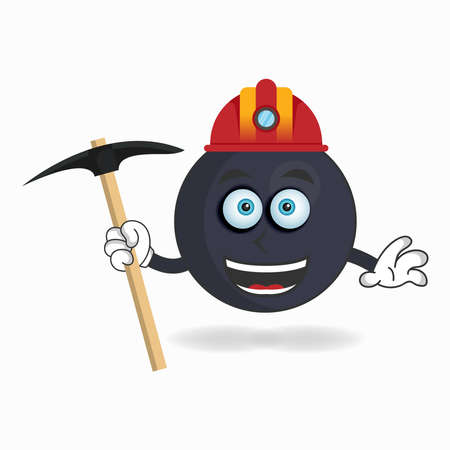 The Boom mascot character becomes a miner. vector illustration