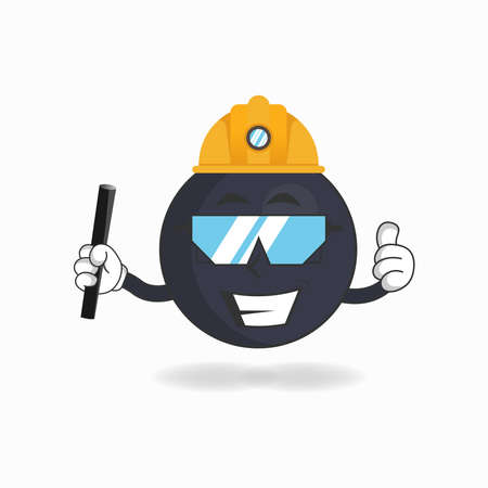 The Boom mascot character becomes a mining officer. vector illustration