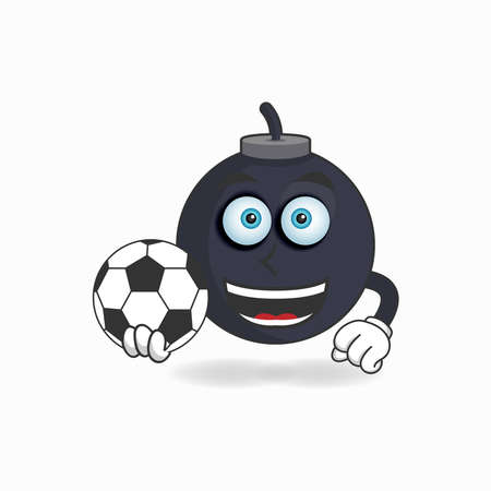The Boom mascot character becomes a soccer player. vector illustration