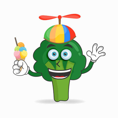Broccoli mascot character with Brocoli and colorful hat. vector illustration
