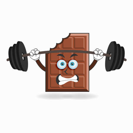 Chocolate mascot character with fitness equipment. vector illustration Ilustração Vetorial